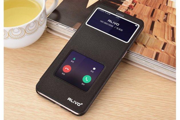 Фирменный чехол-книжка для Oppo R11s Plus черный с окошком для входящих вызовов и свайпом водоотталкивающий