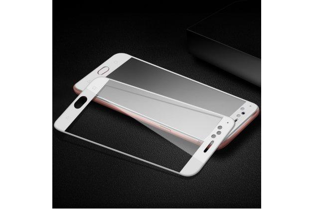 Фирменное 3D защитное изогнутое стекло с закругленными изогнутыми краями которое полностью закрывает экран / дисплей по краям с олеофобным покрытием для Oppo R11s Plus белое