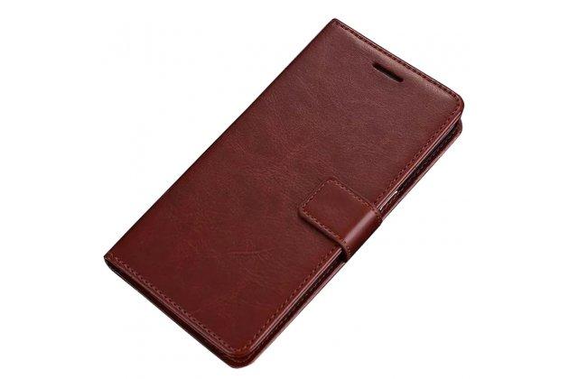 Фирменный чехол-книжка из качественной импортной кожи с подставкой застёжкой и визитницей для Oppo R11s Plus коричневый