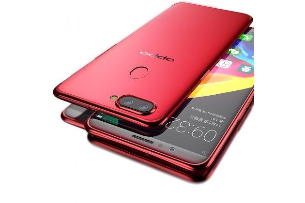 Фирменная ультра-тонкая полимерная из мягкого качественного силикона задняя панель-чехол-накладка для Oppo R11s Plus прозрачная с красной рамкой