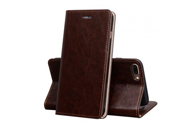 Фирменный чехол-книжка из качественной импортной кожи с мульти-подставкой и визитницей для Oppo R11s коричневый