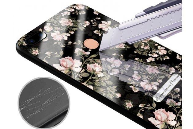"""Фирменная роскошная задняя панель-чехол-накладка из мягкого силикона с объемным  3D изображением на Oppo R11s с безумно красивым рисунком """"Белые розы"""""""
