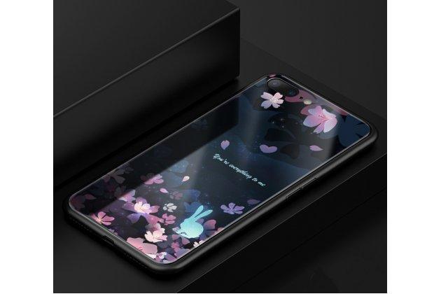 """Фирменная роскошная задняя панель-чехол-накладка из мягкого силикона с объемным 3D изображением на Oppo R11s с безумно красивым рисунком """"Кролик в цветах"""""""