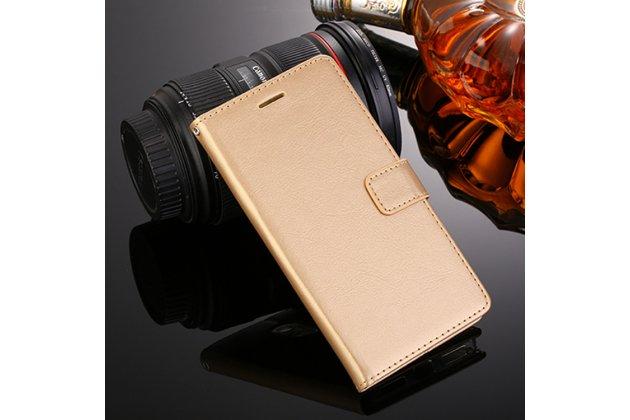 Фирменный чехол-книжка из качественной импортной кожи с подставкой застёжкой и визитницей для Oppo R11s золотой