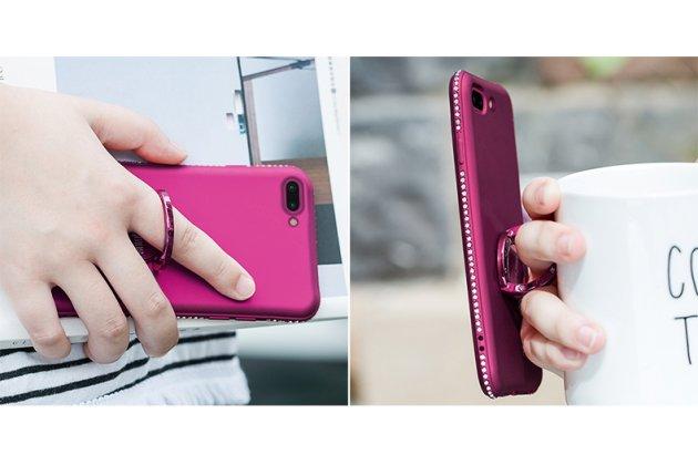 Фирменная роскошная элитная силиконовая задняя панель-накладка украшенная стразами кристалликами для Oppo R11s фиолетовая
