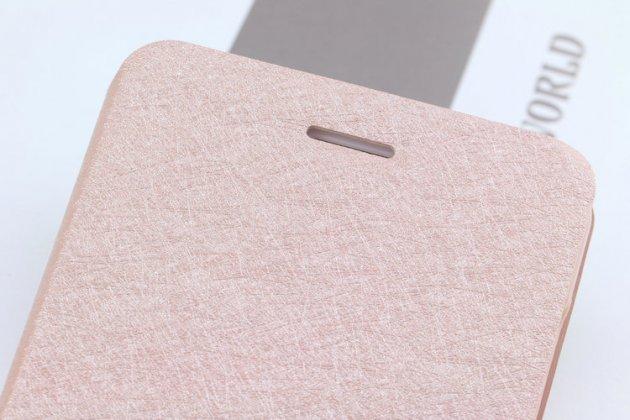 Фирменный чехол-книжка водоотталкивающий с подставкой застёжкой и визитницей для Oppo R11s светло розовый