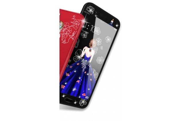 """Фирменный силиконовый чехол-бампер-панель с полной защитой дисплея и телефона по всем краям и углам для Oppo R11s черный тематика """"Бальное платье"""""""