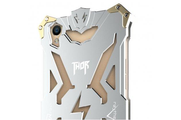 Противоударный металлический чехол-бампер из цельного куска металла с усиленной защитой углов и необычным экстремальным дизайном  для  Oppo R9S Plus серебристого цвета