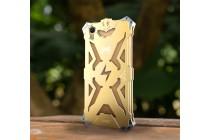 Противоударный металлический чехол-бампер из цельного куска металла с усиленной защитой углов и необычным экстремальным дизайном  для  Oppo R9S Plus золотого цвета