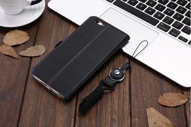Фирменный чехол-книжка для Oppo R9S черный с окошком для входящих вызовов и свайпом водоотталкивающий