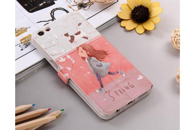 Фирменный уникальный необычный чехол-подставка для Oppo R9S тематика Девочка и кот с окошком для входящих вызовов