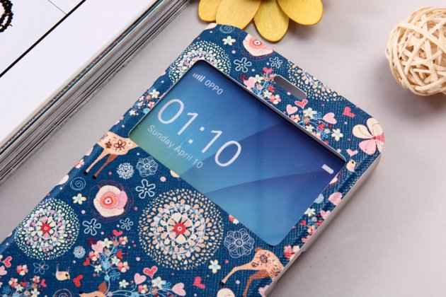 Фирменный уникальный необычный чехол-подставка для Oppo R9S тематика Олень в цветах с окошком для входящих вызовов