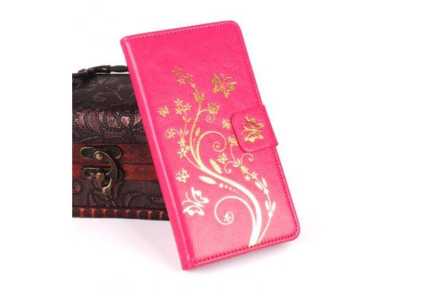 Фирменный чехол-книжка с рисунком на тему канделябры на Oukitel K10000 розовый