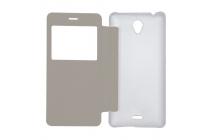 Фирменный оригинальный чехол-книжка с квадратным окном для входящих вызовов  для OUKITEL K4000 Lite Белый