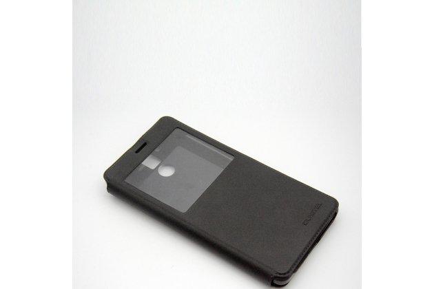 Фирменный оригинальный чехол-книжка водоотталкивающий с окном для входящих вызовов для OUKITEL K6000 Pro черный
