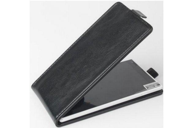 Фирменный оригинальный вертикальный откидной чехол-флип для OUKITEL K6000 Pro черный из натуральной кожи Prestige