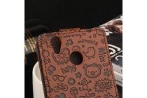 Фирменный оригинальный вертикальный откидной чехол-флип с рисунком для Oukitel K7000 коричневый из натуральной кожи Prestige Италия