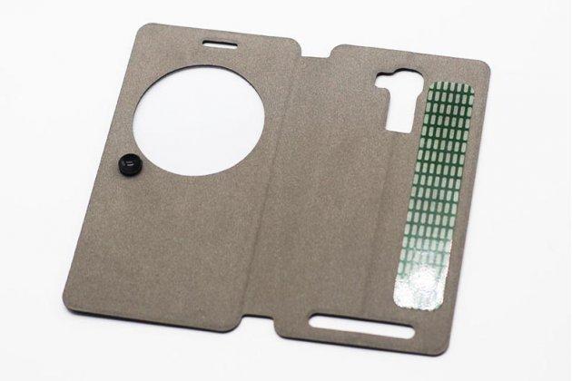 Фирменный оригинальный чехол-книжка из качественной импортной кожи с окном для входящих вызовов  для Oukitel U8 голубой
