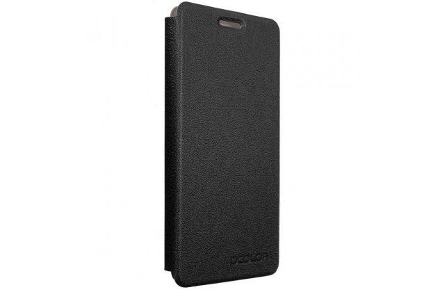 Фирменный чехол-футляр-книжка для Oukitel U8 черный кожаный