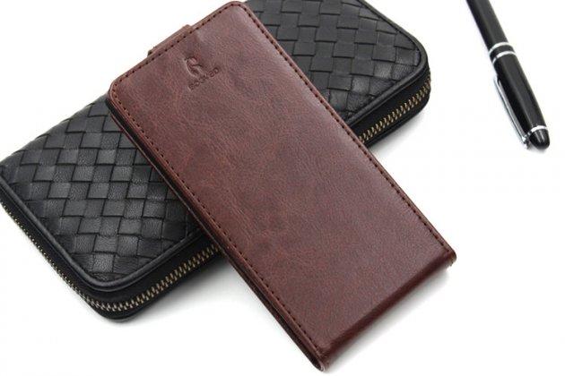 Фирменный оригинальный вертикальный откидной чехол-флип для Prestigio Grace Q5 5.0 коричневый из натуральной кожи Prestige Италия