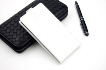 Фирменный оригинальный вертикальный откидной чехол-флип для Prestigio Grace R7 белый из натуральной кожи Prestige Италия