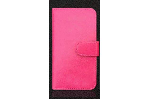 Фирменный оригинальный чехол-книжка из качественной импортной кожи  для Prestigio Muze C3 5.0 (PSP 3504 DUO) розовый
