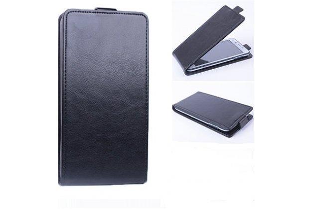 Фирменный оригинальный вертикальный откидной чехол-флип для Prestigio Muze C3 5.0 (PSP 3504 DUO) черный из натуральной кожи Prestige Италия