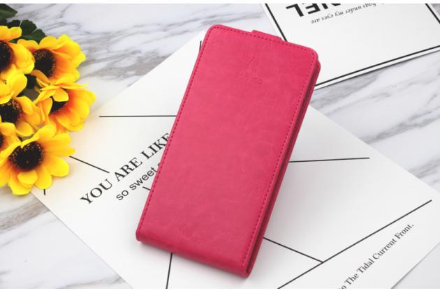 Фирменный оригинальный вертикальный откидной чехол-флип для Prestigio Wize N3 5.0 (PSP3507 DUO) розовый из натуральной кожи Prestige