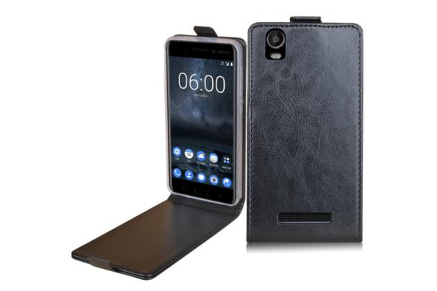 Фирменный оригинальный вертикальный откидной чехол-флип для Prestigio Wize N3 5.0 (PSP3507 DUO) черный из натуральной кожи Prestige