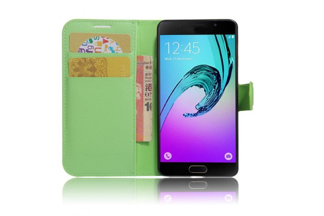 """Фирменный чехол-книжка из качественной импортной кожи с подставкой застёжкой и визитницей для Samsung Galaxy A3 (2017) SM-A320F 4.7"""" зеленый"""