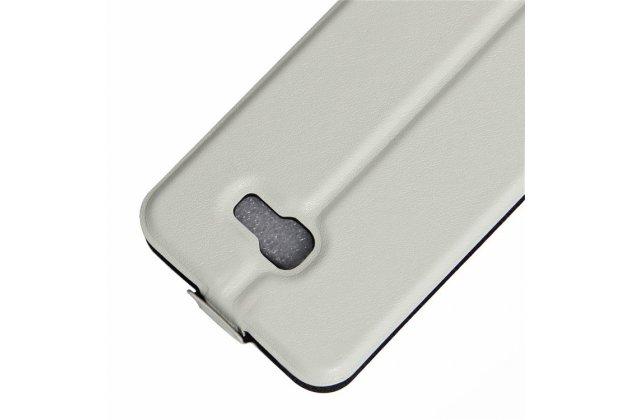 """Фирменный оригинальный вертикальный откидной чехол-флип для Samsung Galaxy A3 (2017) SM-A320F 4.7"""" белый из натуральной кожи Prestige"""
