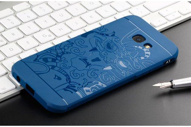"""Фирменная роскошная задняя панель-чехол-накладка с безумно красивым расписным рисунком на Samsung Galaxy A3 (2017) SM-A320F 4.7 """"Тематика Китайский дракон"""" синяя"""