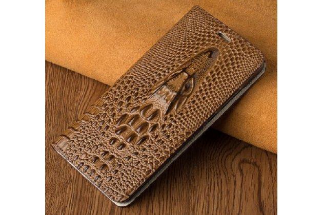 Фирменный роскошный эксклюзивный чехол с объёмным 3D изображением кожи крокодила коричневый для Samsung Galaxy A3 (2017) SM-A320F 4.7 . Только в нашем магазине. Количество ограничено