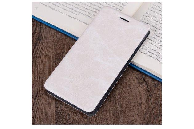 """Фирменный премиальный элитный чехол-книжка из качественной импортной кожи с мульти-подставкой и визитницей для Samsung Galaxy A3 (2017) SM-A320F 4.7  """"Ретро"""" белый"""