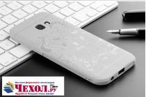 """Фирменная роскошная задняя панель-чехол-накладка с безумно красивым расписным рисунком на Samsung Galaxy A3 (2017) SM-A320F 4.7 """"Тематика Китайский дракон"""" серая"""
