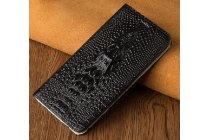Фирменный роскошный эксклюзивный чехол с объёмным 3D изображением кожи крокодила черный для Samsung Galaxy A3 (2017) SM-A320F 4.7  Только в нашем магазине. Количество ограничено