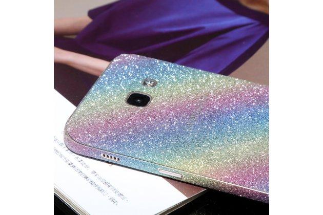 Фирменная оригинальная защитная пленка-наклейка с 3d рисунком тематика с эффектом радуги на твёрдой основе, ударопрочная, которая не увеличивает телефон в размерах для телефона Samsung Galaxy A3 (2017) SM-A320F 4.7