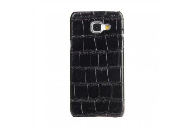Фирменная роскошная эксклюзивная накладка с объёмным 3D изображением рельефа кожи крокодила черная для Samsung Galaxy A3 (2017) SM-A320F 4.7 . Только в нашем магазине. Количество ограничено