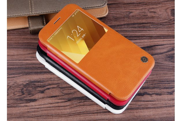 Фирменный оригинальный чехол-кейс из импортной кожи для Samsung Galaxy A3 (2017) SM-A320F 4.7 с умным окном коричневый