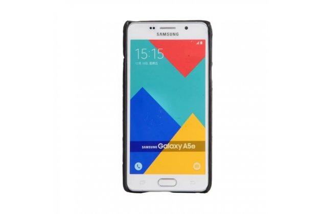 Задняя панель-крышка из тончайшего и прочного пластика для Samsung Galaxy A3 (2017) SM-A320F 4.7 с матовой отделкой под карбон черная
