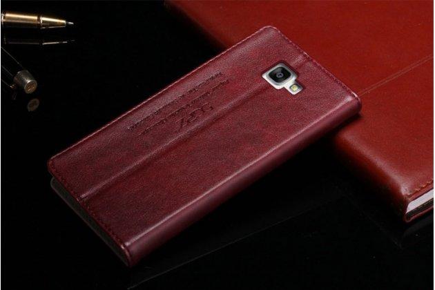 Фирменный чехол-книжка из качественной импортной кожи с мульти-подставкой и визитницей для Samsung Galaxy A5 2016/ A5+ / A510 / A5100 5.2 бордовый