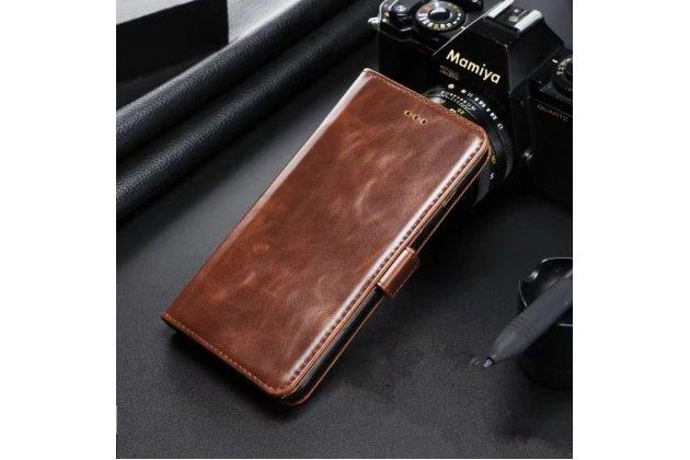 Фирменный чехол-книжка из качественной импортной кожи с подставкой, застёжкой и визитницей для Samsung Galaxy A5 2016/ A5+ / A510 / A5100 5.2 коричневый