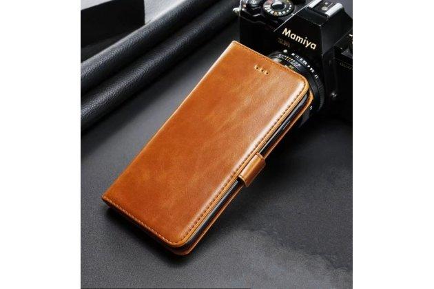 Фирменный чехол-книжка из качественной импортной кожи с подставкой, застёжкой и визитницей для Samsung Galaxy A5 2016/ A5+ / A510 / A5100 5.2 светло-коричневый