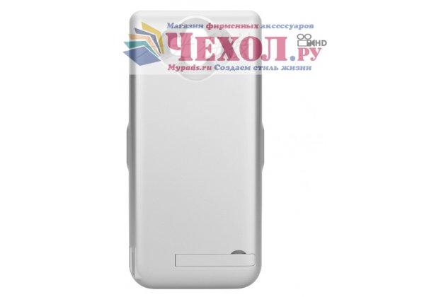 Чехол-бампер со встроенной усиленной мощной батарей-аккумулятором большой повышенной расширенной ёмкости 6500 mAh для Samsung Galaxy A5 2016/ A5+ / A510 / A5100 5.2 серебряный + гарантия