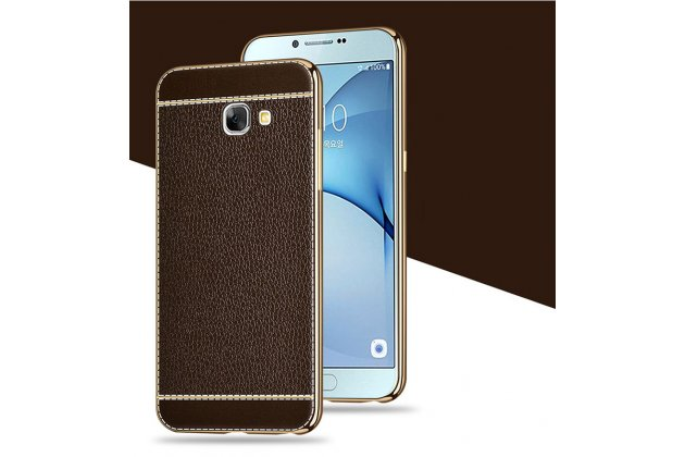 Фирменная премиальная элитная крышка-накладка на Samsung Galaxy A5 2016/ A5+ / A510 / A5100 5.2 коричневая из качественного силикона с дизайном под кожу