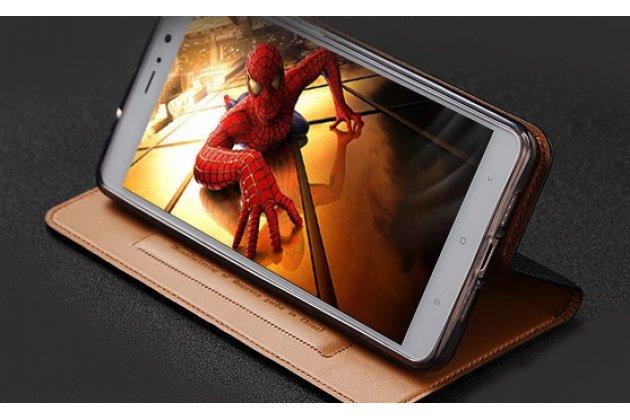 Фирменный чехол-книжка из качественной импортной кожи с мульти-подставкой и визитницей для Samsung Galaxy A5 2016/ A5+ / A510 / A5100 5.2 красный