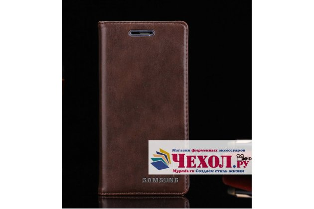 Фирменный чехол-книжка из качественной импортной кожи с мульти-подставкой и визитницей для Samsung Galaxy A5 2016/ A5+ / A510 / A5100 5.2 темно-коричневый