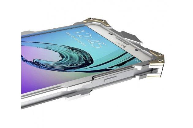 Противоударный металлический чехол-бампер из цельного куска металла с усиленной защитой углов и необычным экстремальным дизайном  для  Samsung Galaxy A5 2016/ A5+ / A510 / A5100 5.2 черного цвета