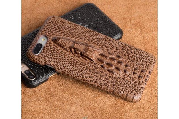 Фирменная роскошная эксклюзивная накладка с объёмным 3D изображением рельефа кожи крокодила коричневая для Samsung Galaxy A5 SM-A520F (2017). Только в нашем магазине. Количество ограничено