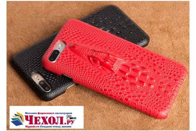 Фирменная роскошная эксклюзивная накладка с объёмным 3D изображением рельефа кожи крокодила красная для Samsung Galaxy A5 SM-A520F (2017). Только в нашем магазине. Количество ограничено